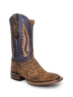 Mens Black Jack Hand Tooled Paisley Boots