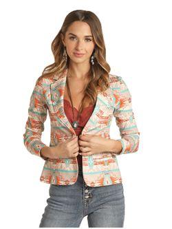 Ladies Panhandle Slim Shadow Aztec Blazer Jacket