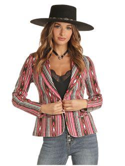 Ladies Panhandle Slim Hot Pink Aztec Blazer Jacket