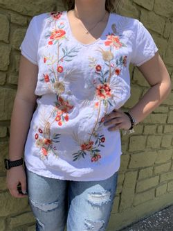 Ladies  Johnny Was White Caspian Linen Drape Top Short Sleeve Shirt