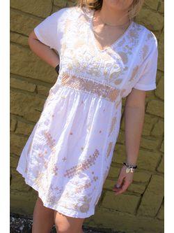 Ladies Johnny Was White Sidra Easy Linen Pull On Short Sleeve Dress