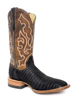 Mens Capitan Black Nile Crocodile Hobart Boots