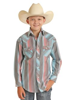 Kids Panhandle Slim Boys Stripe Long Sleeve Shirt