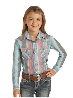 Kids Panhandle Slim Girls Stripe Long Sleeve Shirt