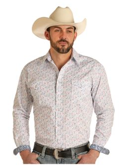 Mens Panhandle Slim Red and Blue Snap Long Sleeve Shirt