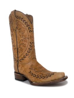 Ladies Corral  Sand Embroidery Square Toe Boots
