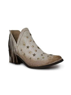 Ladies Corral White Cowhide And Studs Boots