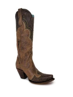 Ladies Corral Brown Embroidery And Studs Boots