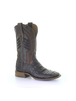 Mens Corral Brown Caiman Embroidery Woven Shaft Boot