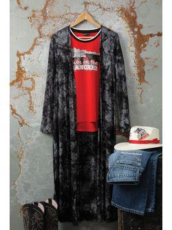 Ladies Cinch Black Marbled Duster Long Sleeve Shirt