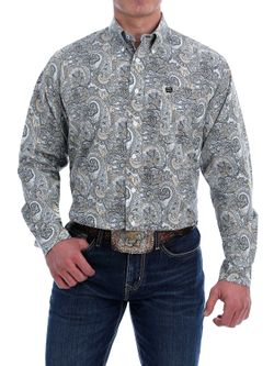Mens Cinch Light Blue Paisley Long Sleeve Shirt