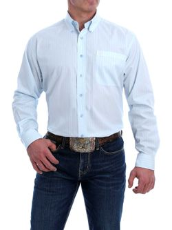 Mens Cinch Light Blue Print Long Sleeve Shirt