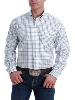 Mens Cinch White Plaid Long Sleeve Shirt