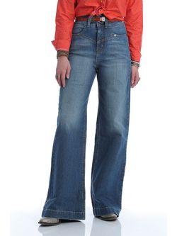 Ladies Cinch Wide Leg Medium Stone Jeans