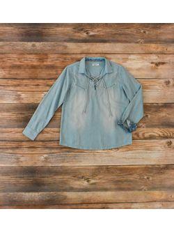 Ladies Tasha Pollizi Blue Wash Brentwood Shirt Long Sleeve Shirt