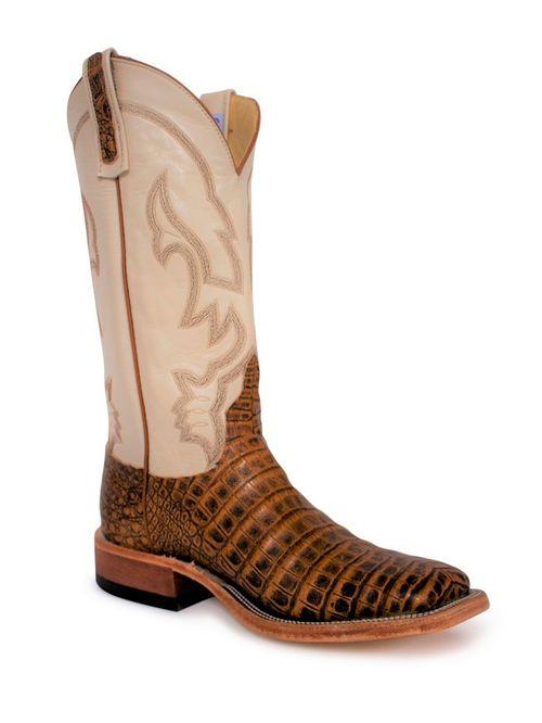 Mens Anderson Bean Pecan Antique Caiman Belly Cowboy Boots
