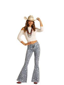 Ladies Panhandle Slim Star Bell Bottoms Jeans