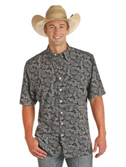 Mens Panhandle Slim Black Paisley Short Sleeve Shirt
