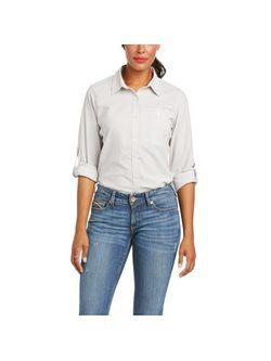 Ladies Ariat Venttek Grey Stripe Long Sleeve Shirt