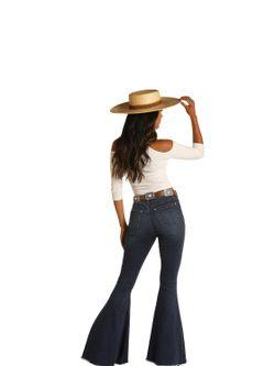Ladies Panhandle Slim Dark Vintage Bells Jeans