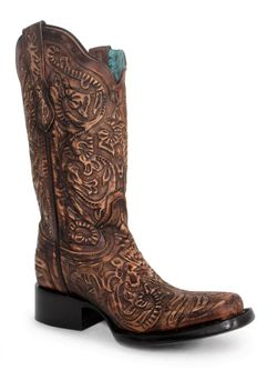 Ladies Corral Brown Tooled Square Toe Boot