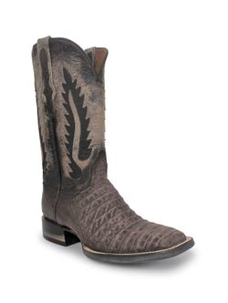 Mens Black Jack Chocolate Suede Caiman Belly Boots