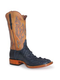 Mens Black Jack Navy Snapping Turtle Cowboy Boots