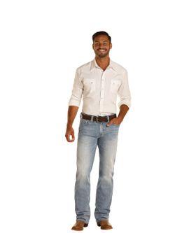 Mens Panhandle Slim Light Wash Double Barrel Jean
