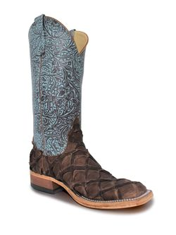 Ladies Anderson Bean Turquoise Tooled Chocolate Big Bass Boots