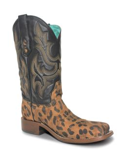 Ladies Corral Leopard with Black Embroidery Boots