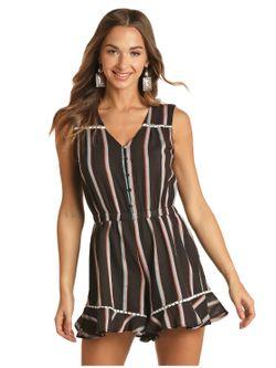 Ladies Panhandle Slim Striped Romper