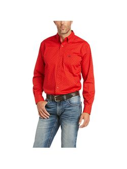 Mens Ariat Burch Red Long Sleeve Shirt