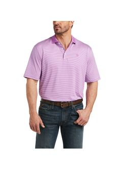 Mens Ariat Violet Micro Stripe Short Sleeve Polo