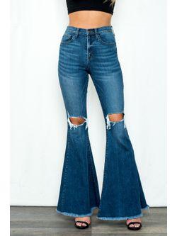 Ladies Destroyed Flare Leg Jeans