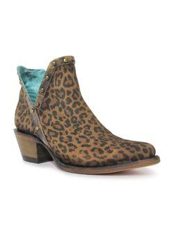 Ladies Corral Brown Leopard Print and Studs Booties