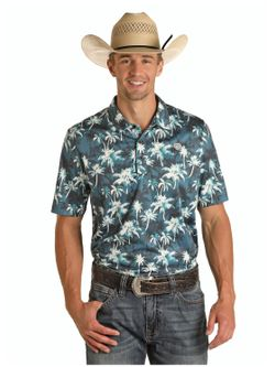 Mens Panhandle Slim Floral Hawaiian Print Short Sleeve Shirt