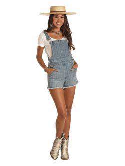 Ladies Panhandle Slim Denim Shorts Overalls