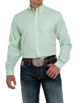 Mens Cinch Green Modern Fit Long Sleeve Shirt