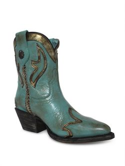 Ladies Corral Turquoise Gold Overlay Ankle Booties