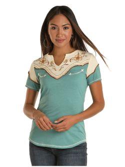 Ladies Panhandle Slim  Western Knit Short Sleeve Top