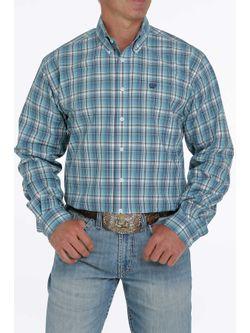 Mens Cinch  Blue Plaid Long Sleeve Shirt