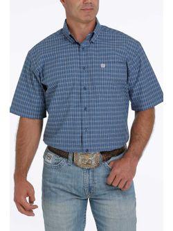 Mens Cinch Blue Plaid Short Sleeve Shirt