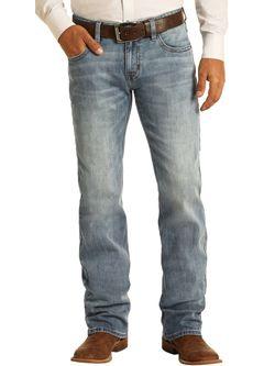 Mens Panhandle Slim Vintage 46 Pistol Straight Light Wash Jeans