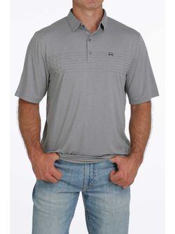 Mens Cinch Arena Flex Gray Polo Short Sleeve Shirt