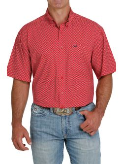 Mens Cinch Red Print Button Down Short Sleeve Shirt