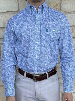 Mens Wrangler George Strait Blue Paisley Long Sleeve Shirt