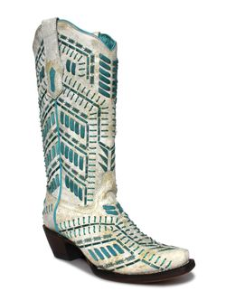 Ladies Corral White Turquoise  Inlay Boots