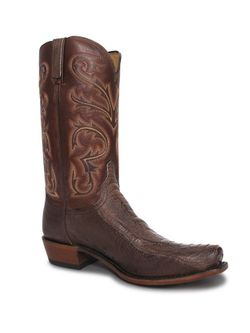 Lucchese Mens Chocolate Burnished  Ostrich Leg Boots
