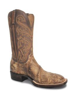 Lucchese Mens Cognac Stonewashed Giant Gator Boots