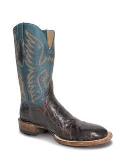 Mens Lucchese Barrel Brown Giant Gator Boot